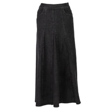 Godet Panel Black Denim Skirt