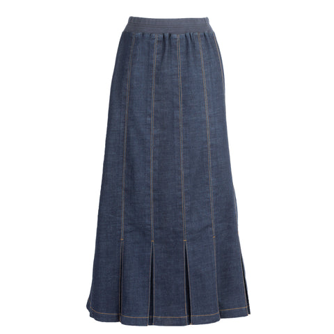 Pleated Panel Denim Skirt