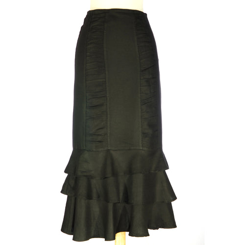Margot3 Black Flax Skirt