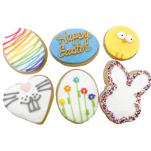 A Dozen Decorated Happy Easter Cookies
