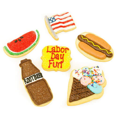 A Dozen Decorated Labor Day Cookies
