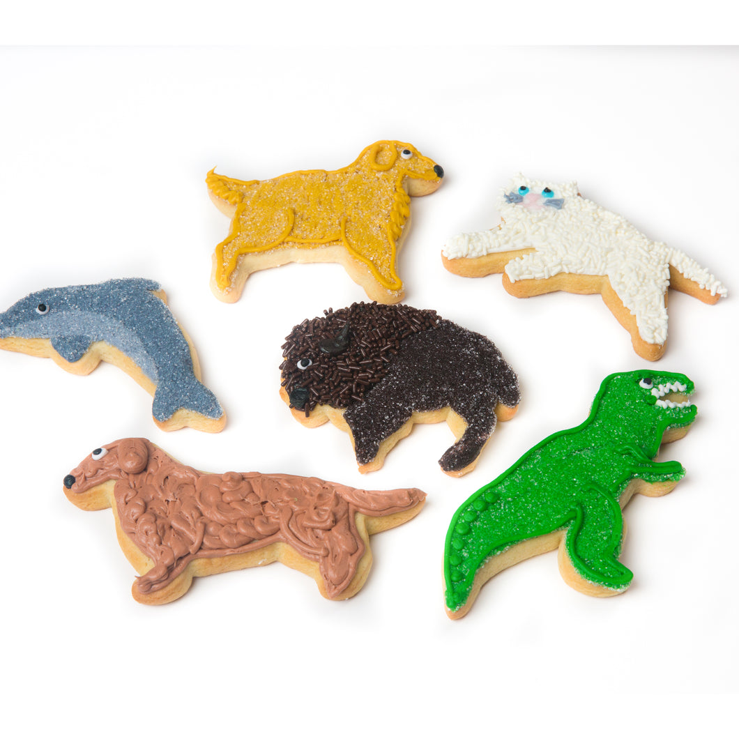 A Dozen Decorated Animal Cookies