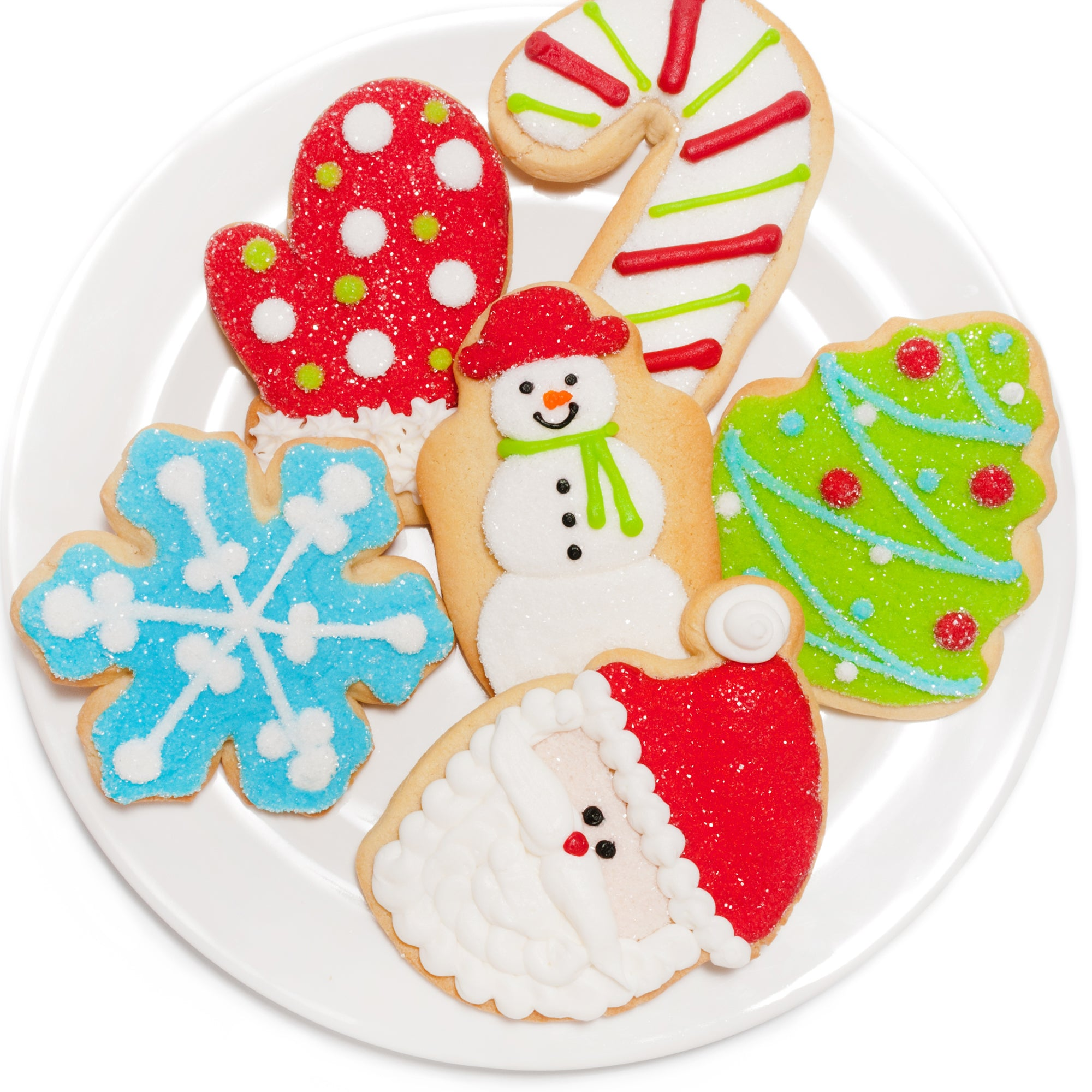 a dozen decorated christmas cookies