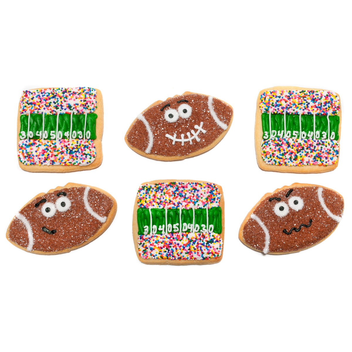 A Dozen Decorated Football Cookies
