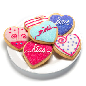 A Dozen Decorated Conversation Heart Cookies