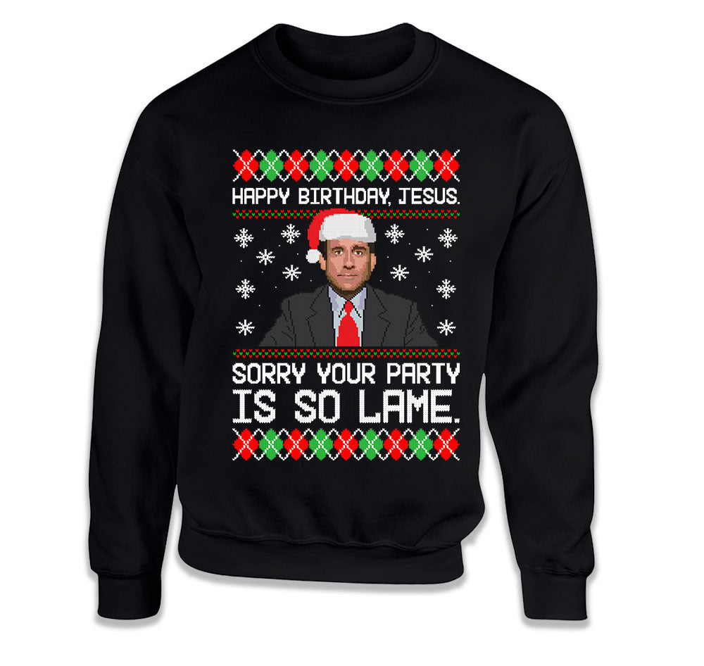 The Office Ugly Christmas Sweater Michael Scott Sorry Jesus