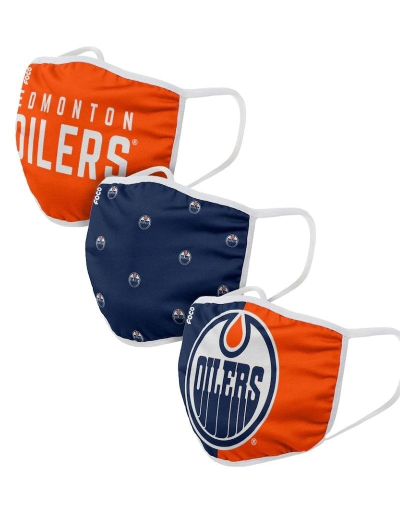 FOCO Brand Edmonton Oilers NHL 3 Pack Face Cover Breathable Washable Adult Face Mask