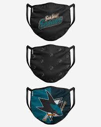 FOCO Brand San Jose Sharks NHL 3 Pack Face Cover Breathable Washable Adult Face Mask