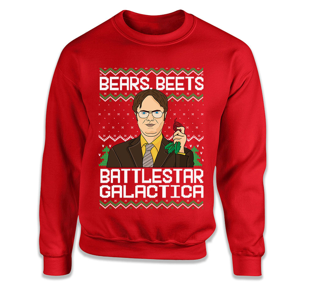 The Office Christmas Sweater.The Office Ugly Christmas Sweater Dwight Schrute Bears Beets Battlestar Galactica