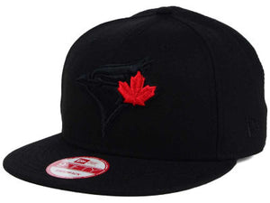 Toronto Blue Jays New Era MLB Black on Black Red Leaf 9FIFTY Snapback Cap