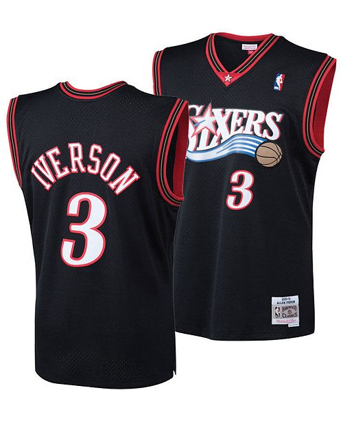 Allen Iverson Philadelphia 76ers Black NBA Swingman Jersey By Mitchell and Ness