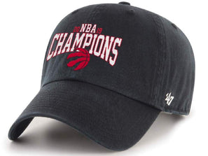 Toronto Raptors 2019 NBA Champions Hat 47 Brand Black Red Stitch Clean Up Adjustable Cap