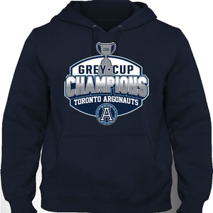 Toronto Argonauts Grey Cup Champions 2017 Argos Hoodie Sweater Hoody Long Sleeve Navy by Bulletin