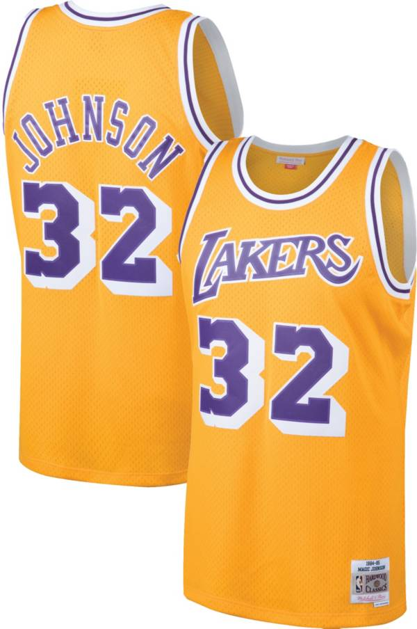 Magic Johnson Los Angeles Lakers Gold NBA Swingman Jersey By Mitchell and Ness