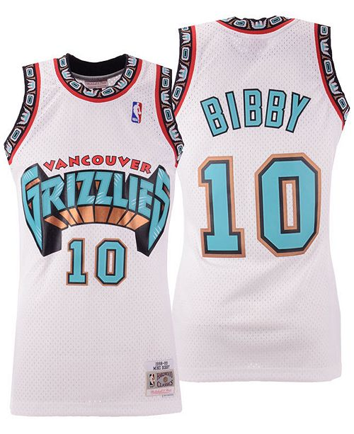 Mike Bibby Vancouver Grizzlies White NBA Swingman Jersey By Mitchell and Ness