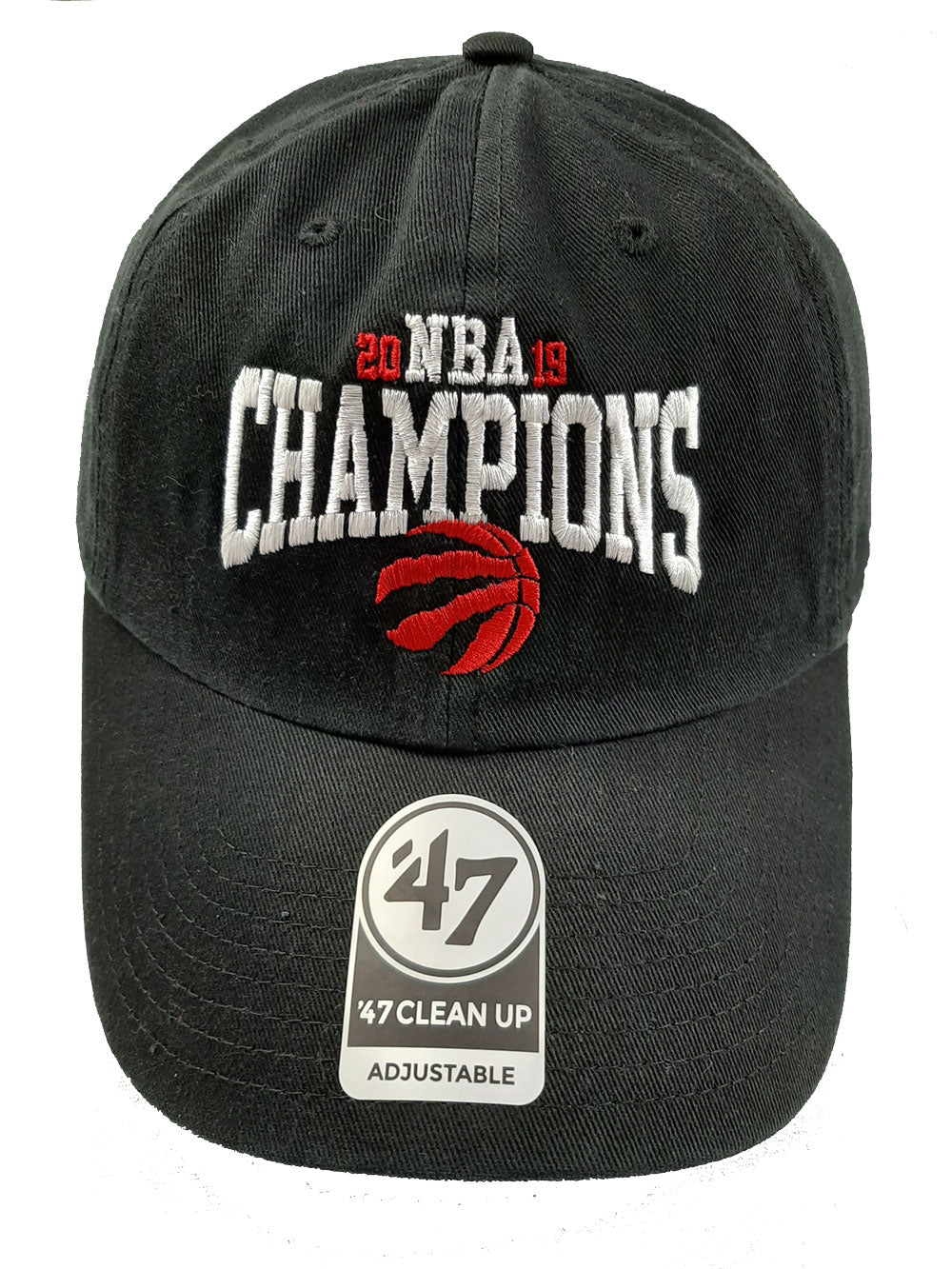 Toronto Raptors 2019 NBA Champions Hat 47 Brand Black Clean Up Adjustable Cap