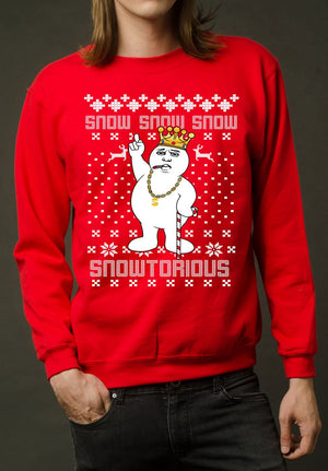 Biggie Smalls Snowman Ugly Christmas Sweater Notorious B.I.G Xmas Sweatshirt