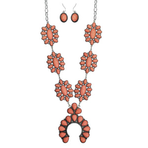 Coral Squash Blossom Necklace Set