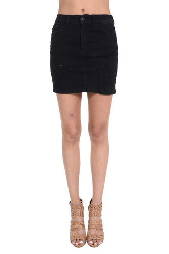 Black Destroyed Denim Skirt