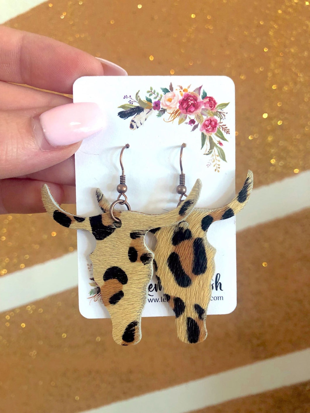 Leopard Longhorn Earrings