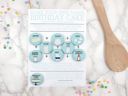 Make Your Own Damn Birthday Cake Magnet Set