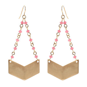 Pink Beaded Arrow Earrings