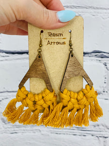 Macrame Wood Earrings ~ 4 Colors