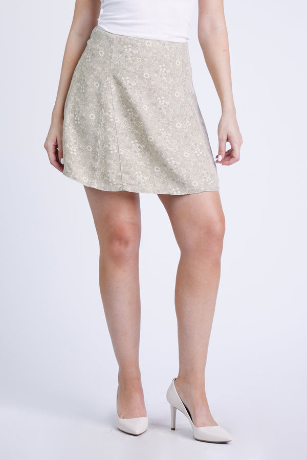 THE MARILYN MINI SKIRT BEIGE DITSY