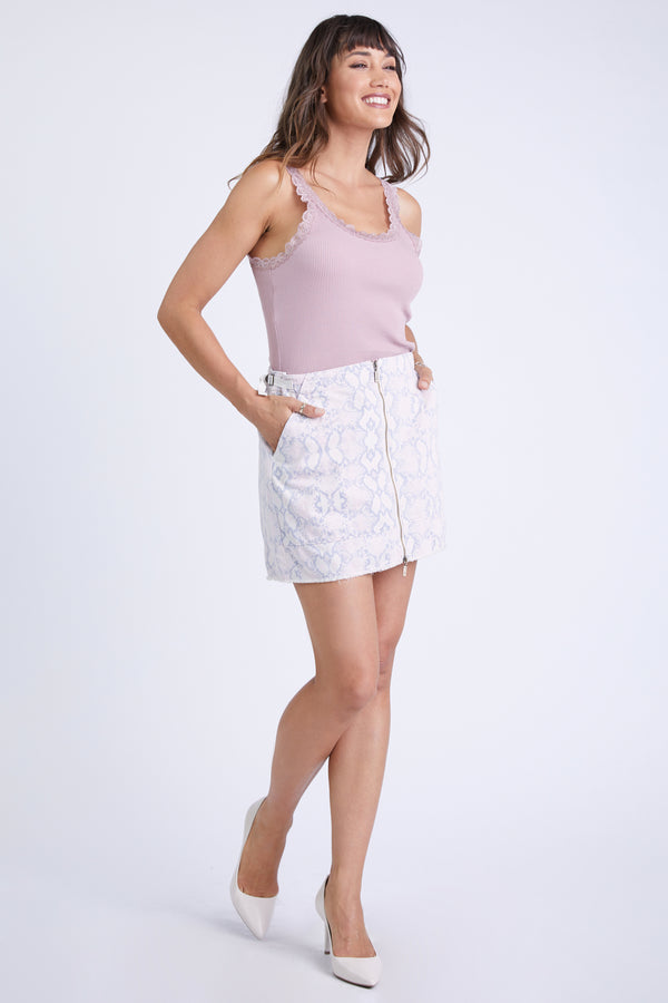 PARIS TWILL SKIRT - PINK SNAKE