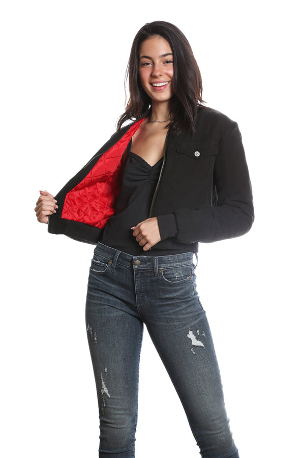 BOMBER QUILTED JACKET - CAVIAR
