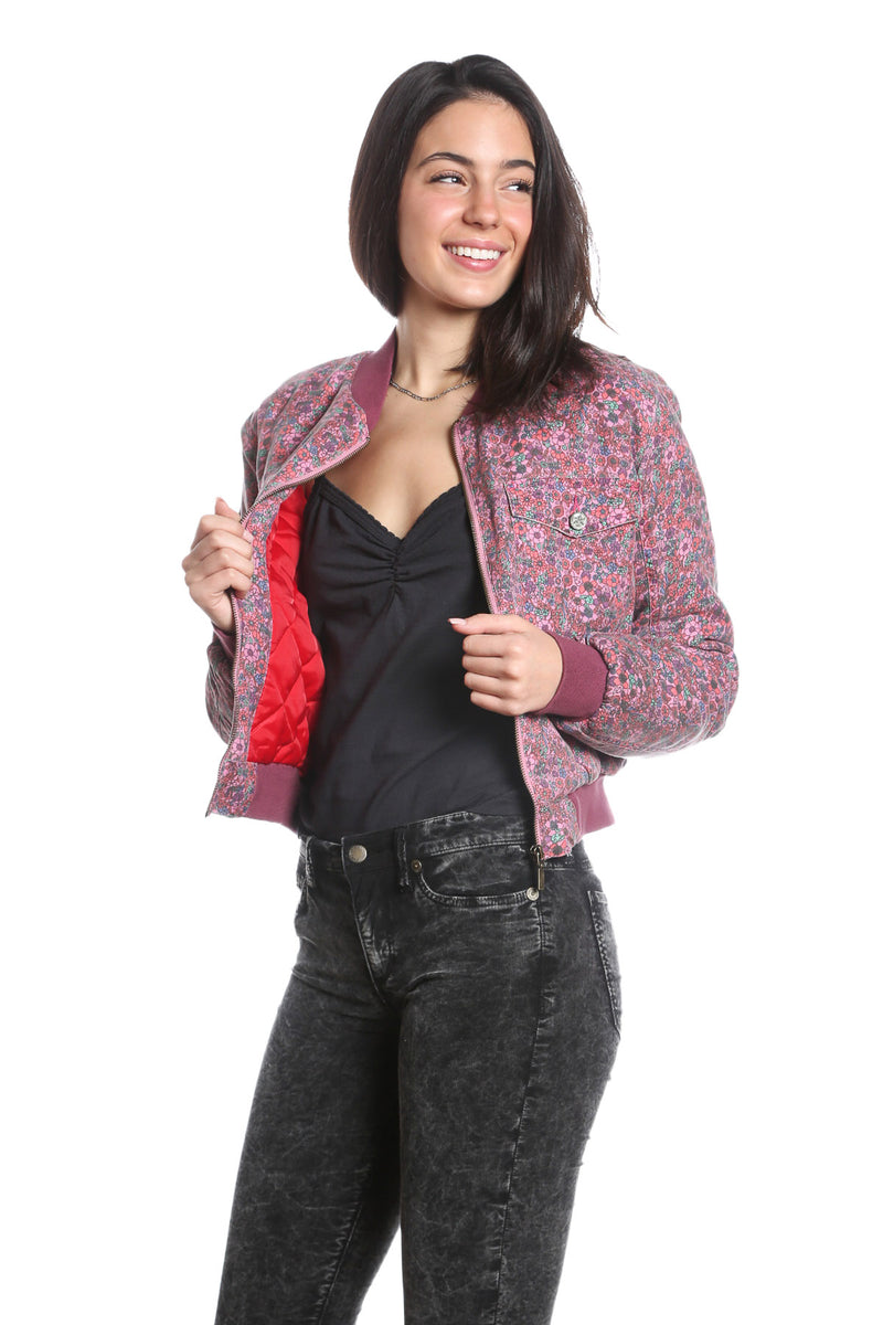 BOMBER QUILTED JACKET - PURPLE DITSY