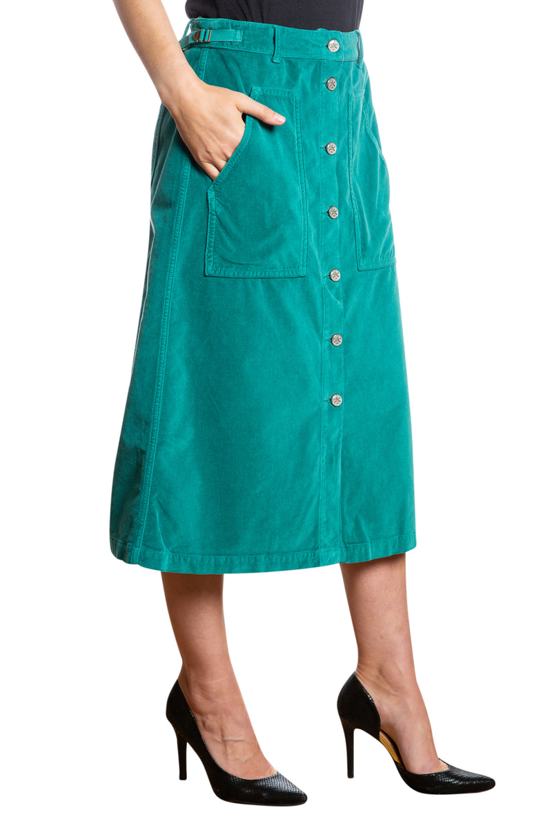 BUTTON DOWN A LINE SKIRT - EMERAL