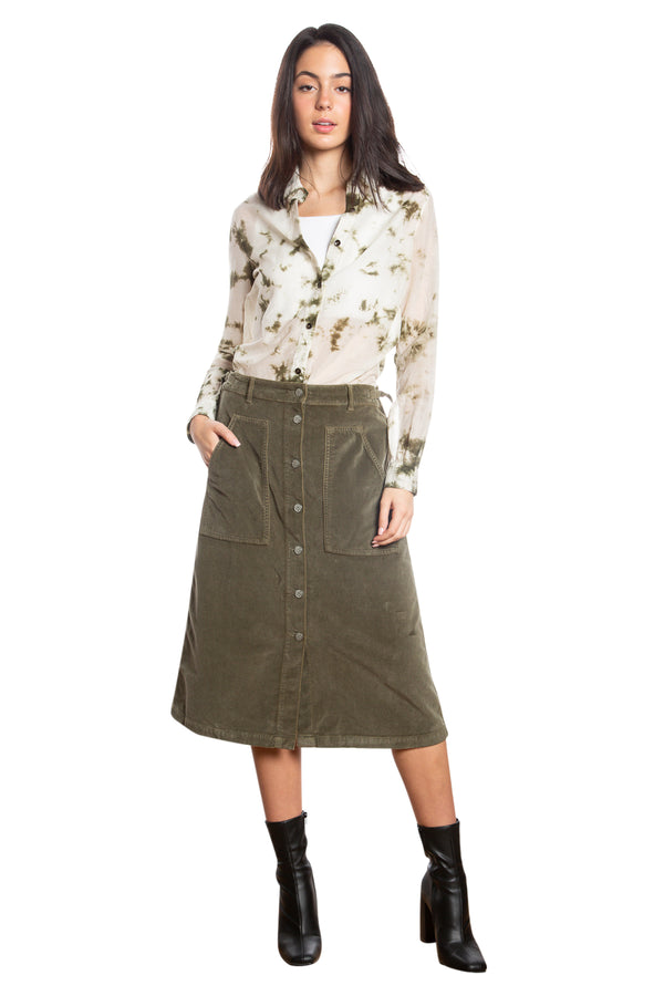 BUTTON DOWN A LINE SKIRT - OLIVE