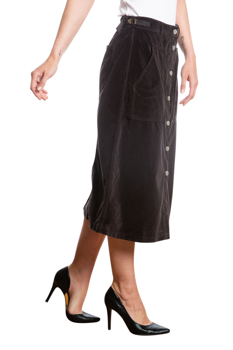 BUTTON DOWN A LINE SKIRT - CAVIAR