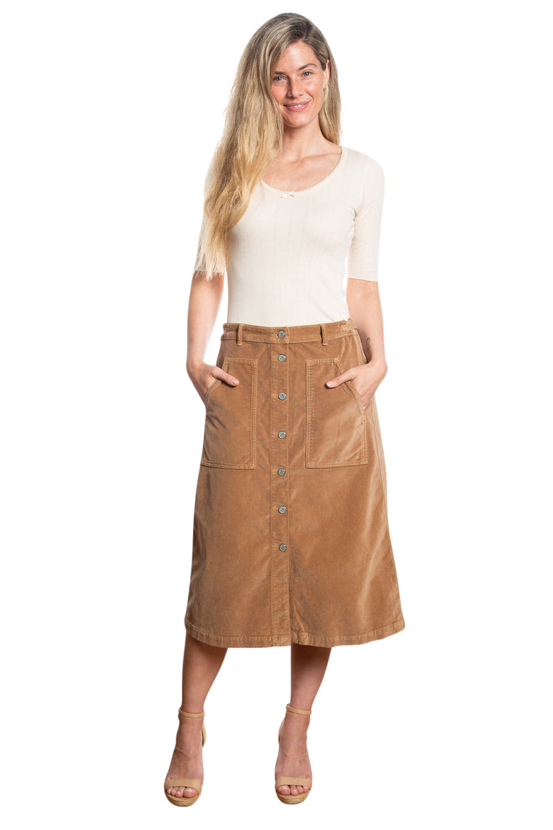BUTTON DOWN A LINE SKIRT - CAMEL