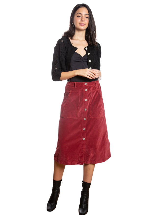 BUTTON DOWN A LINE SKIRT - BRICK