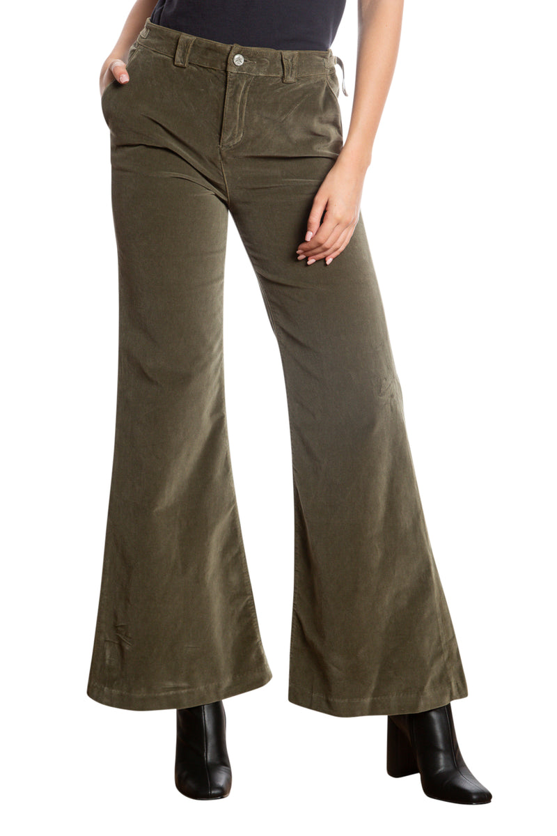 BELL BOTTOM PANTS - OLIVE