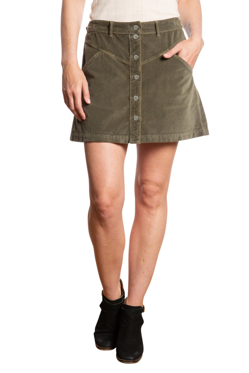 JOCI BUTTON DOWN SKIRT - OLIVE