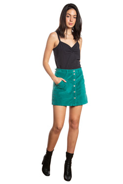 JOCI BUTTON DOWN SKIRT - EMERAL