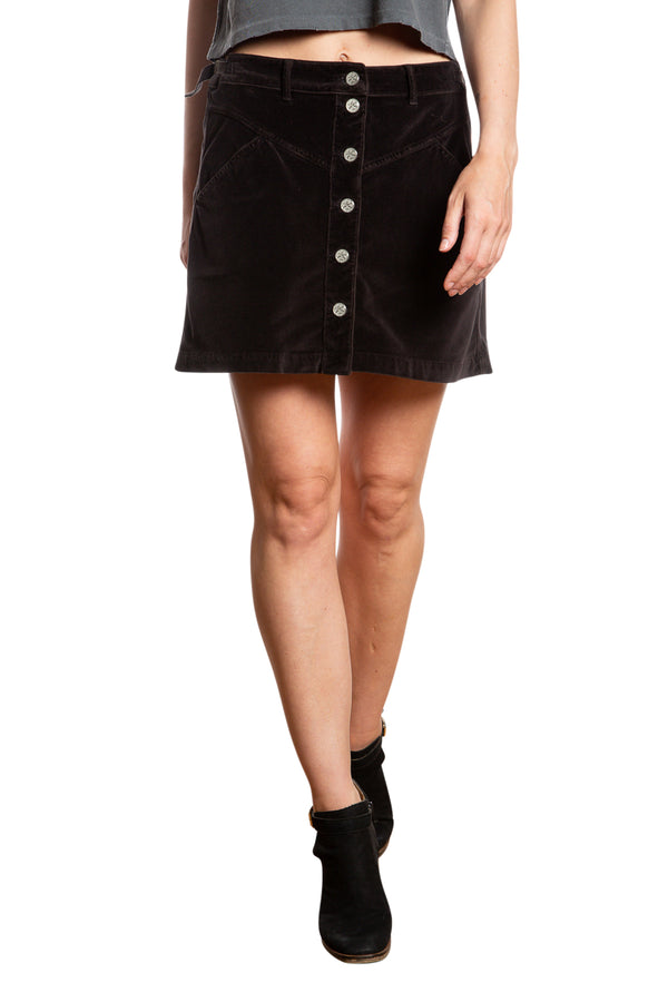 JOCI BUTTON DOWN SKIRT - CAVIAR
