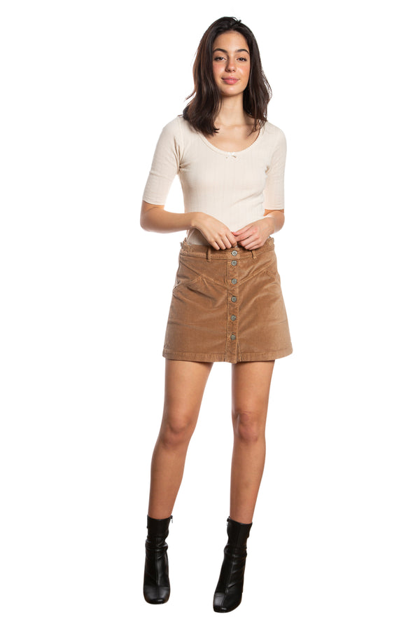 JOCI BUTTON DOWN SKIRT - CAMEL