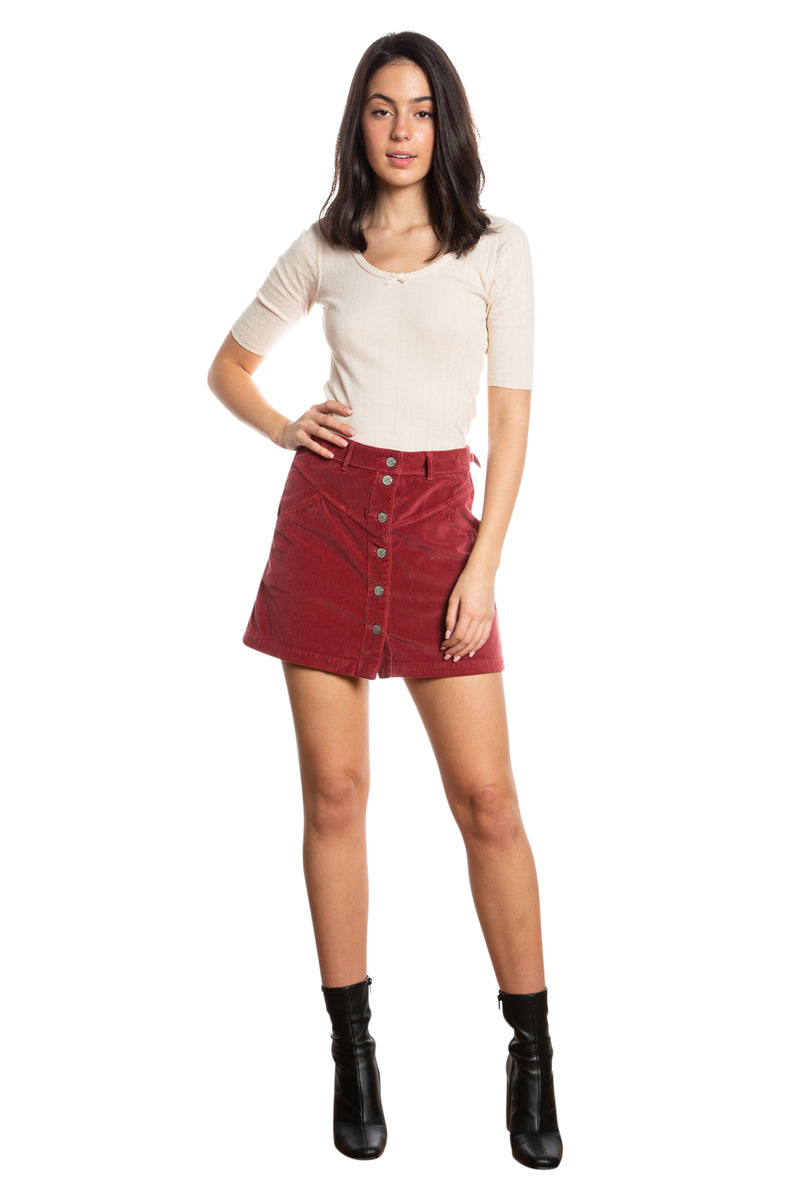 JOCI BUTTON DOWN SKIRT - BRICK