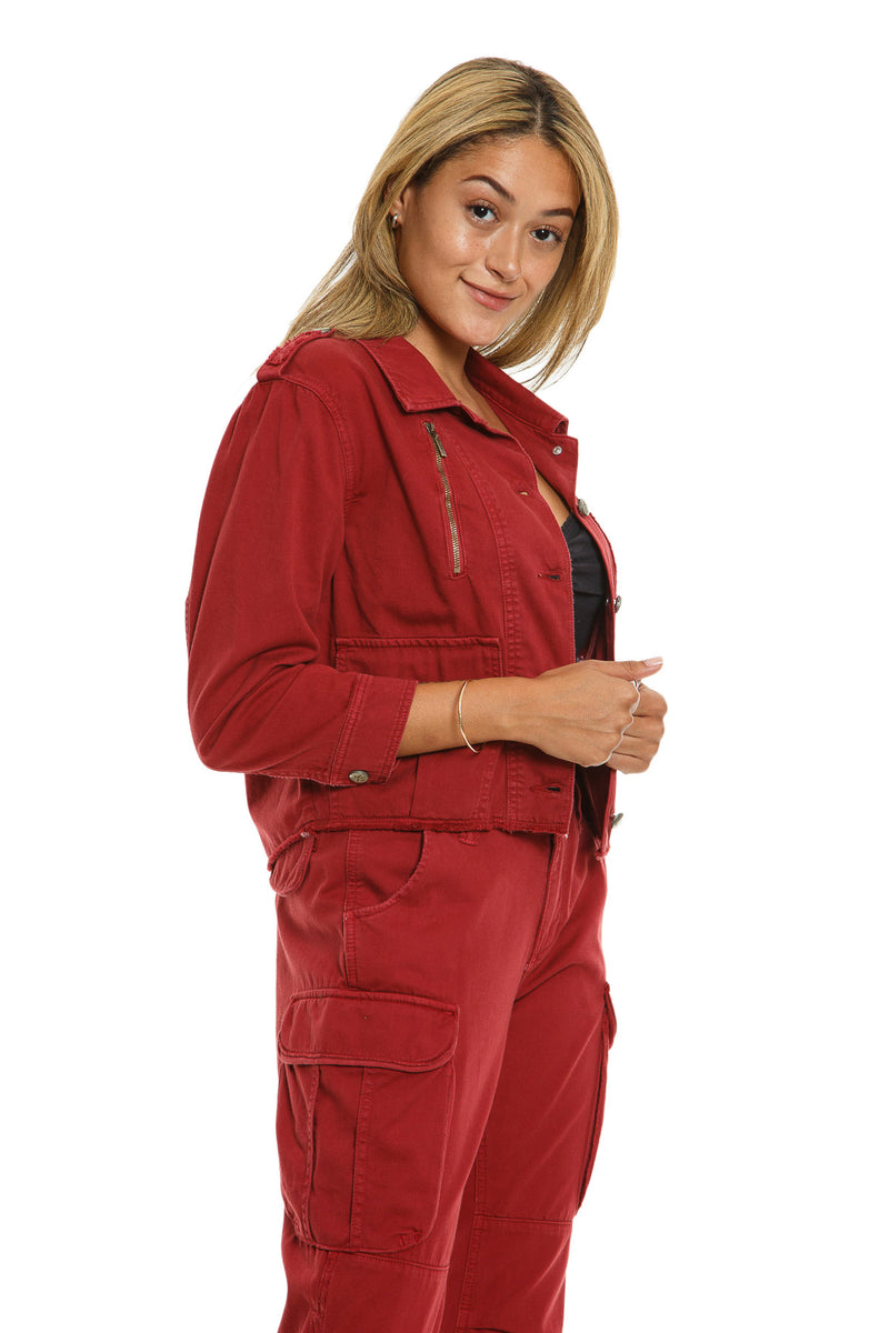 CROP JACKET WITH ZIPS - BRICK