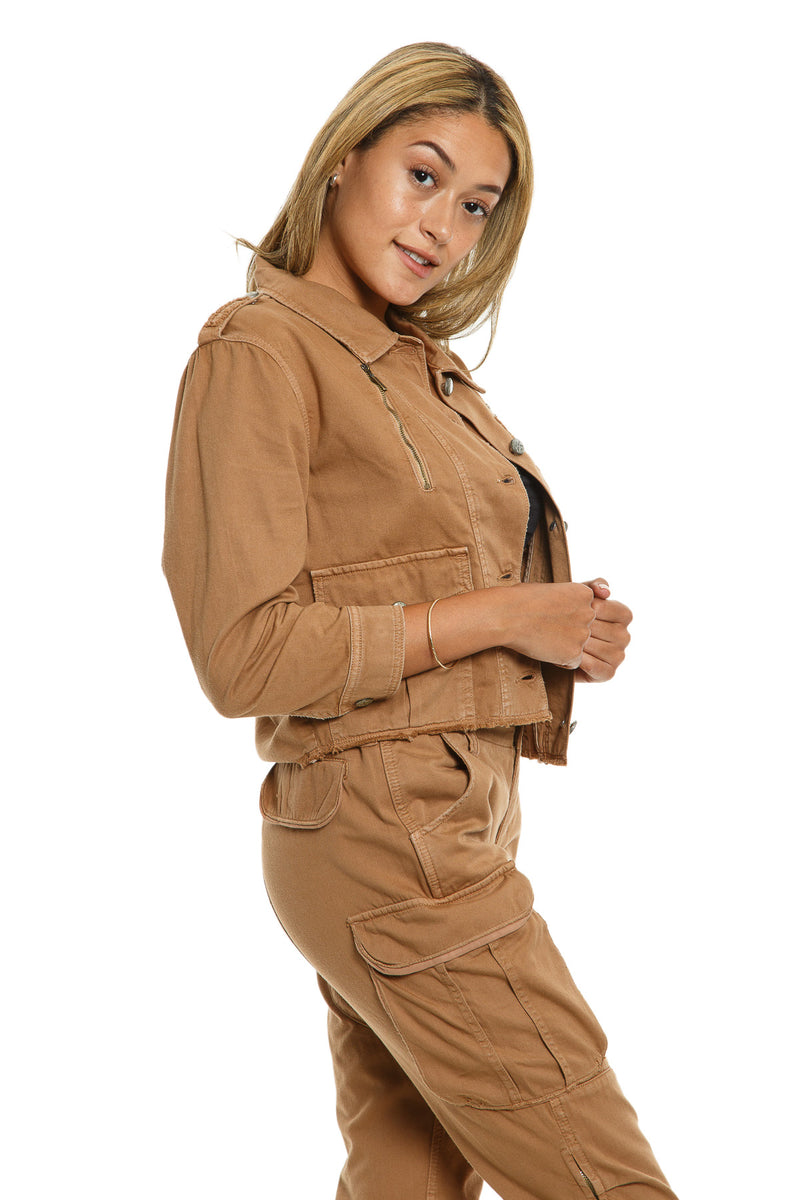 CROP JACKET WITH ZIPS - CAMEL