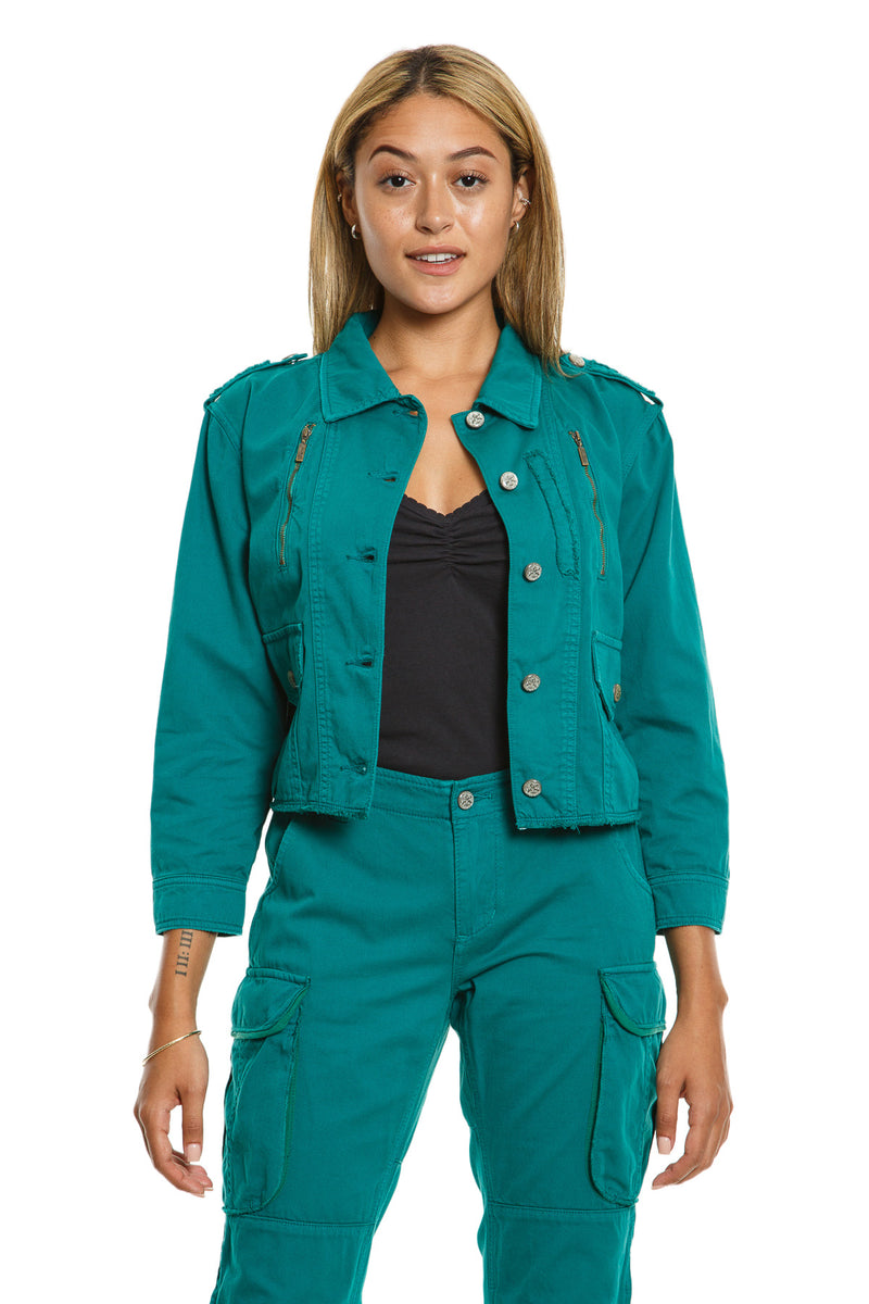CROP JACKET WITH ZIPS - EMERAL