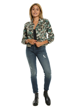 CROP JACKET WITH ZIPS - ARMY CAMO