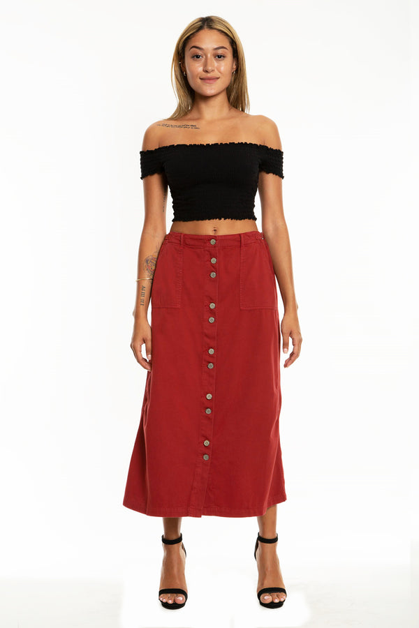 BUTTON DOWN LONG SKIRT - BRICK