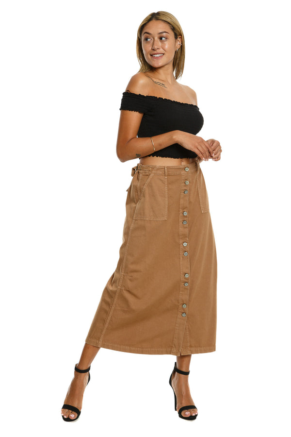 BUTTON DOWN LONG SKIRT - CAMEL