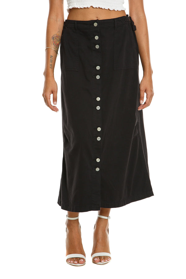 BUTTON DOWN LONG SKIRT - CAVIAR