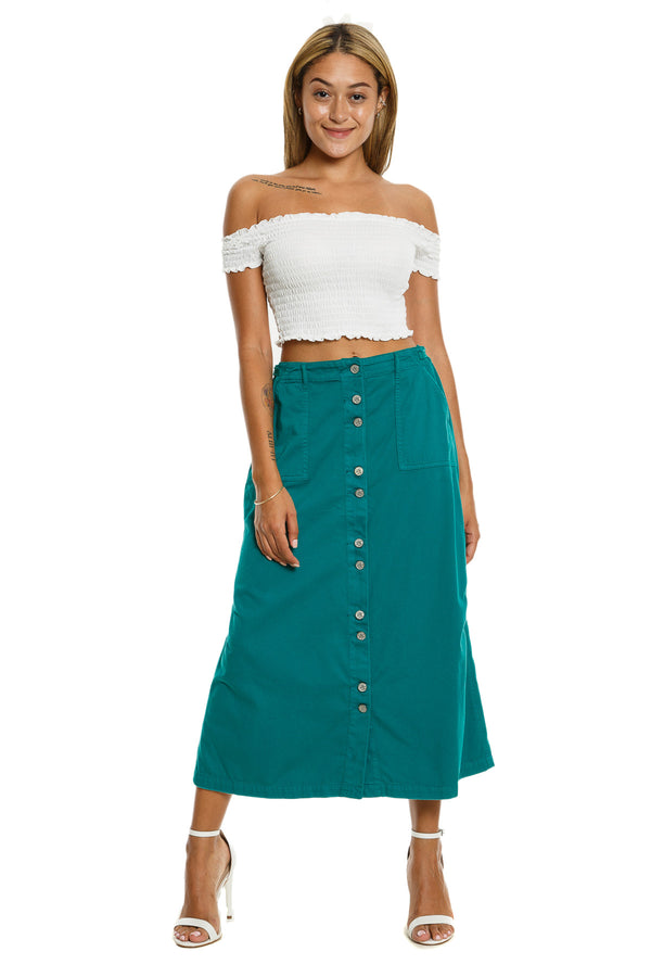 BUTTON DOWN LONG SKIRT - EMERAL